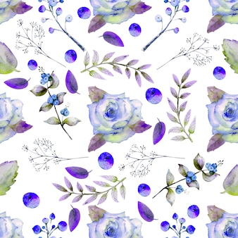 Nahtloses muster mit aquarellblumen rosenblume, blätter, beeren