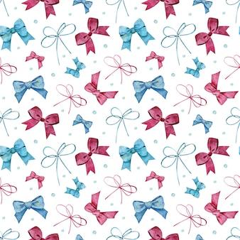 Nahtloses muster mit blauen und rosa bögen und punkten. aquarellillustration des mädchenhaften, kindischen oder feiertagshintergrundes.
