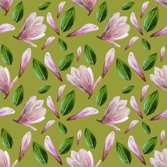 Nahtloses muster mit blühenden magnolienblüten und -blättern. aquarellillustration. muster auf isoliertem pistazienfarbhintergrund