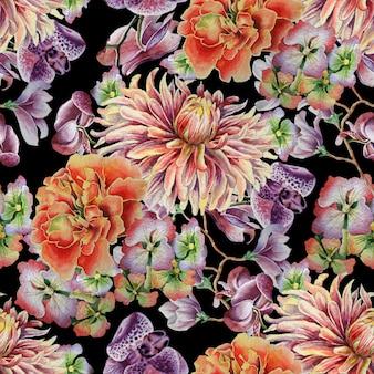 Nahtloses muster mit blumen. dahlie. ringelblume. orchidee. aquarellillustration. handgemalt.
