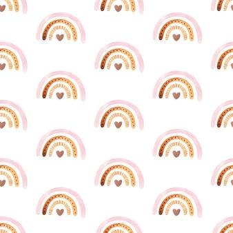 Nahtloses muster mit boho-regenbogen mit stern in neutraler farbe aquarell handgezeichnete illustration digitales papier