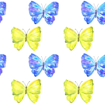 Nahtloses muster mit bunten gelben und blauen schmetterlingen.