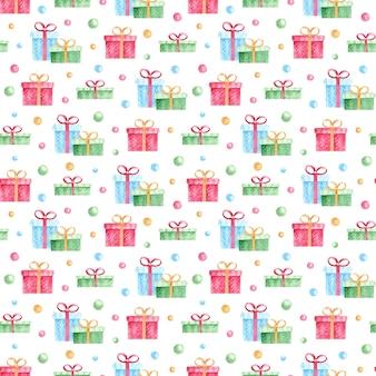 Nahtloses muster mit bunten geschenken des aquarells und konfetti auf weißem hintergrund.