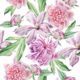 Nahtloses muster mit frühlingsblumen.