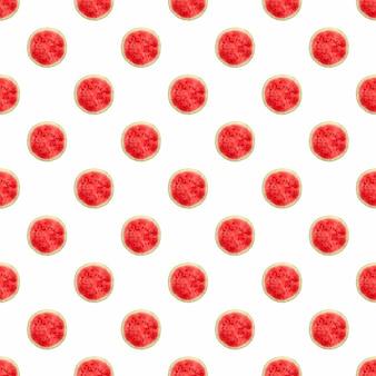 Nahtloses muster mit ganzer wassermelone halbiert auf weißem hintergrund