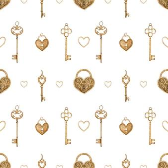 Nahtloses muster mit goldenen vintage-schlüsseln und herzförmigen schlössern. aquarellillustration.