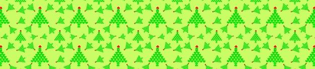 Nahtloses muster mit grünen weihnachtsbäumen aus herzen. minimaler kompositionsmusterhintergrund von weihnachtsbäumen. neujahrs- und weihnachtskonzept. langes breites banner