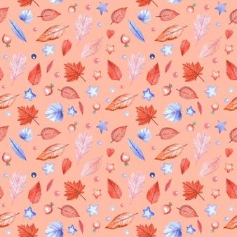 Nahtloses muster mit herbstlaub und hagebuttenbeeren auf rosa hintergrund. handgemalte aquarellillustration.