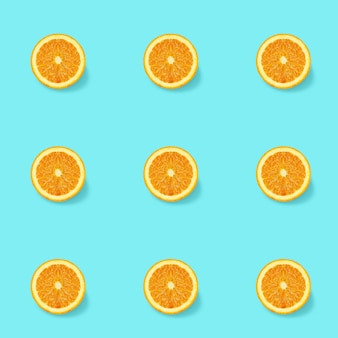 Nahtloses muster mit isometrischem konzept der orangenscheiben