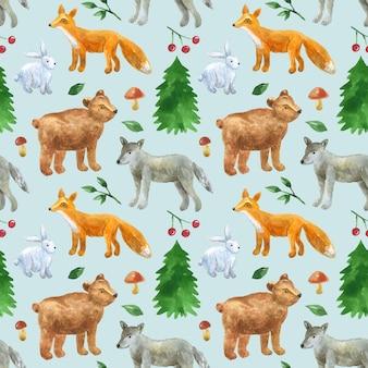 Nahtloses muster mit niedlichen waldtieren: wolf, bär, fuchs, hase. hand gezeichnete aquarellillustration. textur für druck, stoff, textil, tapete.