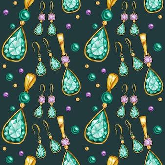 Nahtloses muster mit ohrringen und anhängern aus kristall in einem goldrahmen. handgezeichnete aquarell edelstein diamantschmuck. helle farben grün, lila stoffbeschaffenheit. grüner hintergrund für scrapbooking