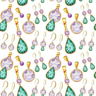 Nahtloses muster mit ohrringen und anhängern aus kristall in einem goldrahmen. handgezeichnete aquarell edelstein diamantschmuck. helle farben grün, lila stoffbeschaffenheit. weißer hintergrund für scrapbooking