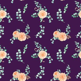 Nahtloses muster mit pfirsich-englisch-rosen-austin-blume und eukalyptus