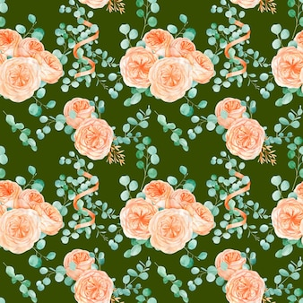 Nahtloses muster mit pfirsich und orange mit englischer rose austin blume und eukalyptus