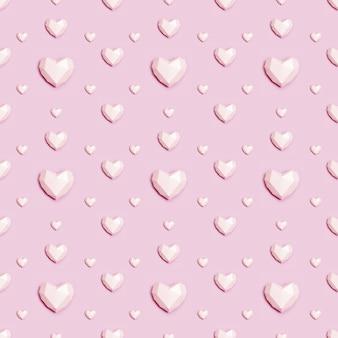 Nahtloses muster mit rosa herzen des volumetrischen papiers