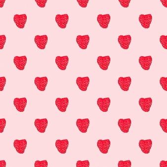 Nahtloses muster mit roten himbeeren auf rosafarbenem hintergrund