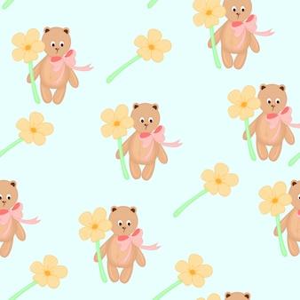 Nahtloses muster mit spielzeug-teddybären mit blumen. cartoon-stil