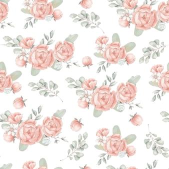 Nahtloses muster mit süßen zarten frühlingsblumen und blättern