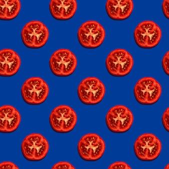 Nahtloses Muster mit Tomatenscheiben. Modernes Stilkonzept