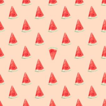 Nahtloses muster mit wassermelonenscheiben auf einem rosa pastellhintergrundel