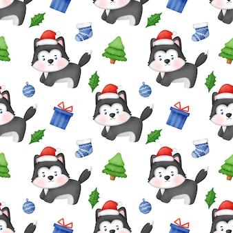 Nahtloses muster mit weihnachtshund des sibirischen huskys mit sankt-hut.