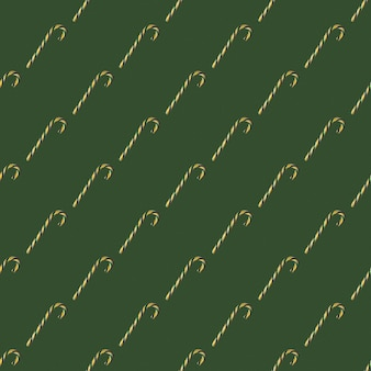 Nahtloses muster mit weihnachtszuckerstangen auf grünem hintergrund, draufsicht. kann als dekorationselemente für weihnachten und silvester, geschenkpapier, textilelemente verwendet werden