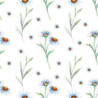 Nahtloses muster mit wildblumen und blättern auf weißem hintergrund. blumenmuster für tapete oder stoff