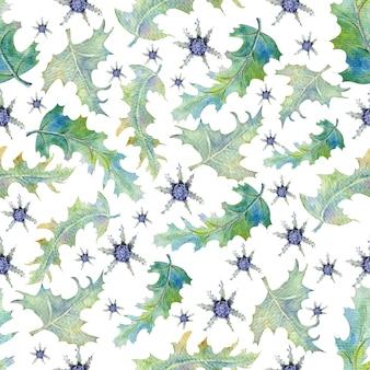 Nahtloses muster mit wildblumen und blättern auf weißem hintergrund.
