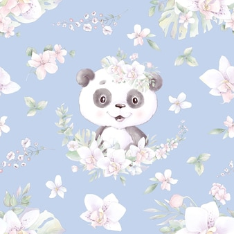 Nahtloses muster. niedlicher cartoon-panda mit blumen und luftballons.