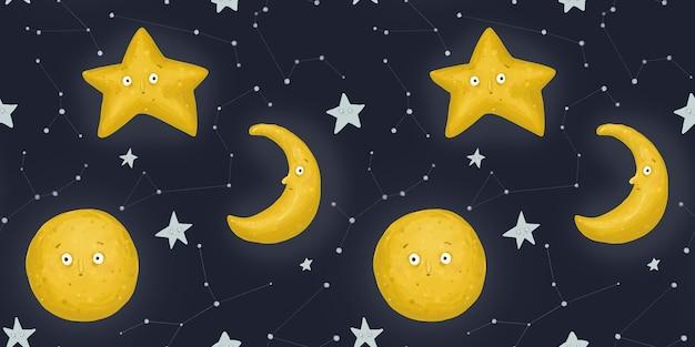 Nahtloses muster, sternenklare nacht. ein seltsamer monat, mond und sterne. nachthimmel und sternbilder