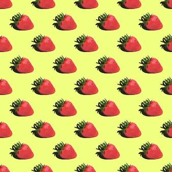 Nahtloses muster von erdbeeren auf einem gelben