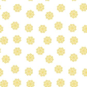Nahtloses muster von gelben schneeflocken auf weißem hintergrund für weihnachten, neues jahr, nahtloses musterillustrationsdesign des schneeflockenelements weihnachtspapierverpackungsdekorationskonzept.