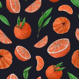 Nahtloses muster von mandarinestwigsleavestangerine scheibenaquarell zitrusmuster handzeichnung