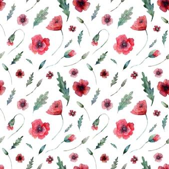Nahtloses muster von mohnblumen auf weiß