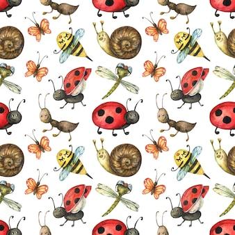 Nahtloses muster von niedlichen und hellen insekten (ameise, schnecke, schmetterling, marienkäfer, biene)