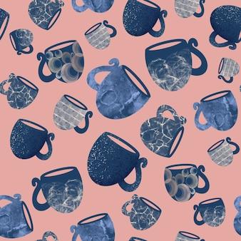 Nahtloses muster von tassen und tassen auf einer handgezeichneten illustration des rosa hintergrundes