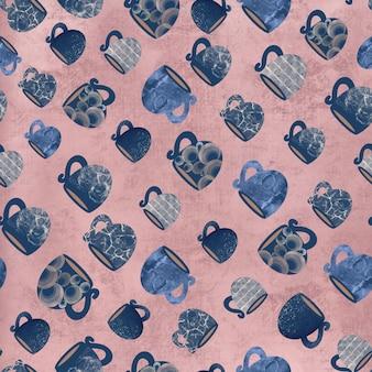 Nahtloses muster von tassen und tassen auf rosa hintergrund