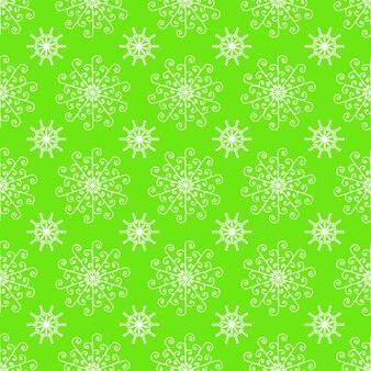 Nahtloses muster von weißen schneeflocken auf grünem hintergrund für weihnachten, neues jahr, schneeflockeelement nahtloses musterillustrationsdesign weihnachtspapierverpackungsdekorationskonzept.
