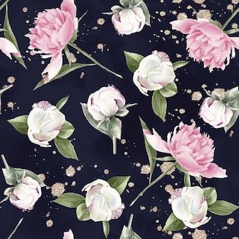 Nahtloses muster von zarten blumenrosen. aquarellillustration