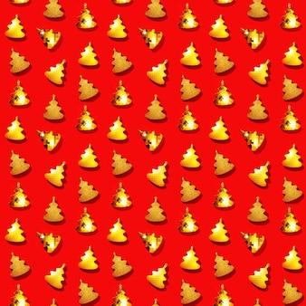 Nahtloses regelmäßiges kreatives muster mit goldenem weihnachtsbaumspielzeug auf rotem hintergrund des neuen jahres