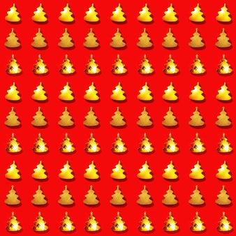 Nahtloses regelmäßiges kreatives muster mit metallischem goldenem weihnachtsbaumspielzeug auf rotem neujahrsfest