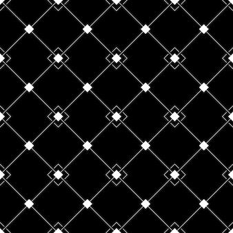 Nahtloses schwarz-weißes geometrisches muster in einer schrägen zelle mit quadraten