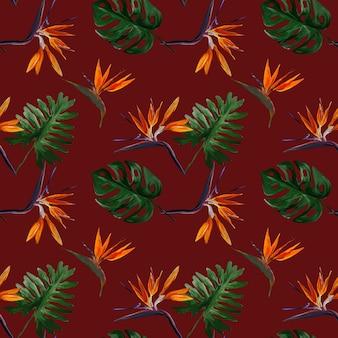 Nahtloses tropisches muster mit strelitzia mit blättern auf rotem hintergrund. nahtloses muster mit bunten blättern von colocasia, filodendron, monstera. exotische tapete. hawaiianischer stil.