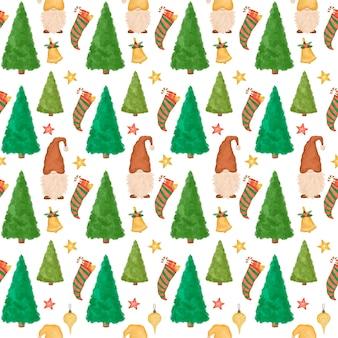 Nahtloses weihnachtsmuster, handgezeichnete karikaturzwerge, weihnachtsbäume, lustiger neujahrshintergrund