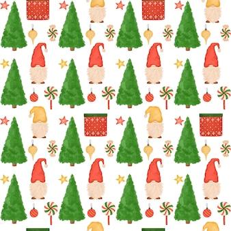 Nahtloses weihnachtsmuster, karikaturzwerge, weihnachtsbäume, süßigkeiten, handgezeichneter neujahrshintergrund