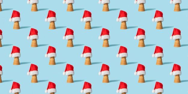 Nahtloses weihnachtsmuster mit eistüte