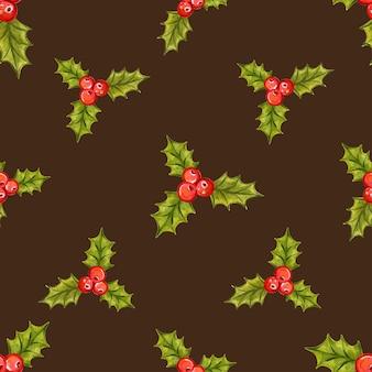 Nahtloses weihnachtsmuster mit stechpalmenbeeren