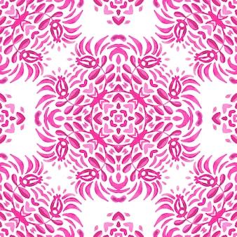 Nahtloses ziermuster der abstrakten rosa magentafarbenen und weißen medaillonfliese. aquarellfliesenmuster mit blütenknospe