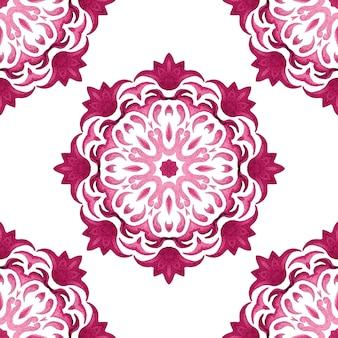 Nahtloses ziermuster der abstrakten rosa und weißen medaillonfliese. elegante luxus-mandala-textur für stoff und tapeten, hintergründe und seitenfüllung.
