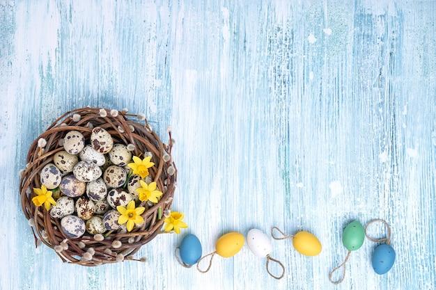 Narzisse, osterweidenkranz und bunte ostereier auf blauem hintergrund. draufsicht, kopierraum